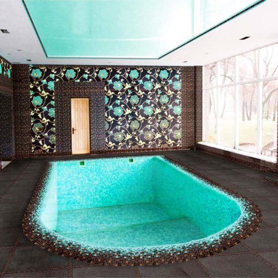 Отделка мозаикой бетонного бассейна и стен
